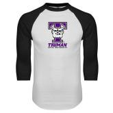 White/Black Raglan Baseball T Shirt-Primary Mark
