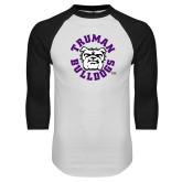 White/Black Raglan Baseball T Shirt-Secondary Mark