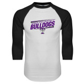 White/Black Raglan Baseball T Shirt-Slanted Design