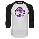 White/Black Raglan Baseball T Shirt-Truman Bulldogs Circle