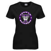 Ladies Black T Shirt-Truman Bulldogs Circle