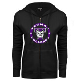ENZA Ladies Black Fleece Full Zip Hoodie-Truman Bulldogs Circle