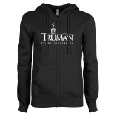 ENZA Ladies Black Fleece Full Zip Hoodie-Truman University Mark