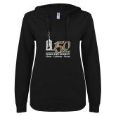 ENZA Ladies Black V Notch Raw Edge Fleece Hoodie-150th Anniversary