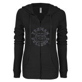 ENZA Ladies Black Light Weight Fleece Full Zip Hoodie-Secondary Mark Graphite Soft Glitter