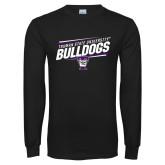 Black Long Sleeve T Shirt-Slanted Design