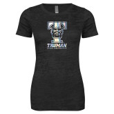 Next Level Ladies Junior Fit Black Burnout Tee-Primary Mark Foil