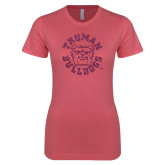 Next Level Ladies SoftStyle Junior Fitted Pink Tee-Secondary Mark Pink Glitter