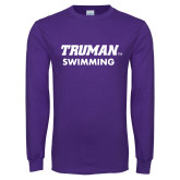Purple Long Sleeve T Shirt-Swimming