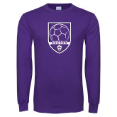 Purple Long Sleeve T Shirt-Soccer Design