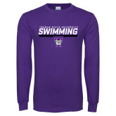 Purple Long Sleeve T Shirt-Swimming Design