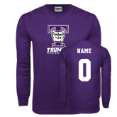 Purple Long Sleeve T Shirt-Primary Mark, Custom Tee w/ Name and #