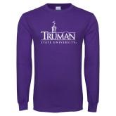 Purple Long Sleeve T Shirt-Truman University Mark