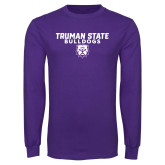 Purple Long Sleeve T Shirt-Bulldog Head