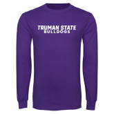 Purple Long Sleeve T Shirt-Bulldogs Wordmark