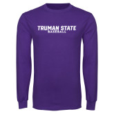 Purple Long Sleeve T Shirt-Bulldogs Baseball