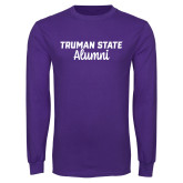 Purple Long Sleeve T Shirt-Alumni Script
