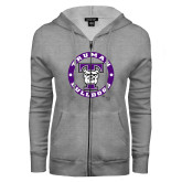 ENZA Ladies Grey Fleece Full Zip Hoodie-Truman Bulldogs Circle
