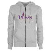 ENZA Ladies Grey Fleece Full Zip Hoodie-Truman University Mark