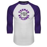 White/Purple Raglan Baseball T Shirt-Secondary Mark