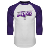 White/Purple Raglan Baseball T Shirt-Slanted Design