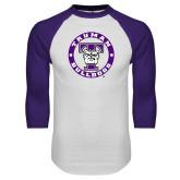 White/Purple Raglan Baseball T Shirt-Truman Bulldogs Circle