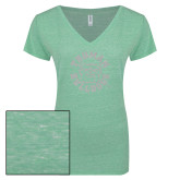 ENZA Ladies Seaglass Melange V Neck Tee-Secondary Mark White Soft Glitter