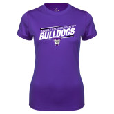 Ladies Syntrel Performance Purple Tee-Slanted Design