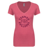 Next Level Ladies Vintage Pink Tri Blend V-Neck Tee-Secondary Mark Hot Pink Glitter