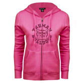 ENZA Ladies Fuchsia Fleece Full Zip Hoodie-Secondary Mark Hot Pink Glitter