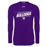 Under Armour Purple Long Sleeve Tech Tee-Slanted Design