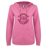 ENZA Ladies Hot Pink V Notch Raw Edge Fleece Hoodie-Secondary Mark Hot Pink Glitter