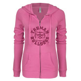 ENZA Ladies Hot Pink Light Weight Fleece Full Zip Hoodie-Secondary Mark Hot Pink Glitter