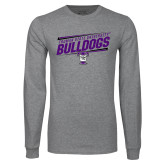Grey Long Sleeve T Shirt-Slanted Design