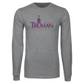 Grey Long Sleeve T Shirt-Truman University Mark