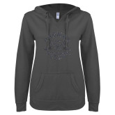 ENZA Ladies Dark Heather V Notch Raw Edge Fleece Hoodie-Secondary Mark Graphite Soft Glitter