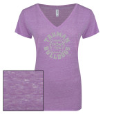 ENZA Ladies Violet Melange V Neck Tee-Secondary Mark White Soft Glitter