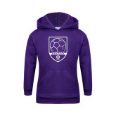 Youth Purple Fleece Hoodie-Soccer Design