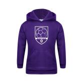 Youth Purple Fleece Hoodie-Soccer Design