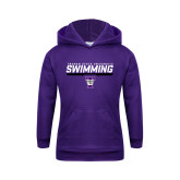 Youth Purple Fleece Hoodie-Swimming Design