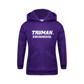 Youth Purple Fleece Hoodie-Swimming