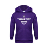 Youth Purple Fleece Hoodie-Basketball Net Design