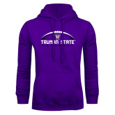 Purple Fleece Hoodie-Arched Football Design