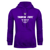 Purple Fleece Hoodie-Basketball Net Design