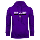 Purple Fleece Hoodie-Swimming Design