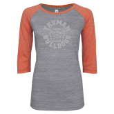 ENZA Ladies Dark Heather/Coral Vintage Triblend Baseball Tee-Secondary Mark White Soft Glitter