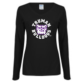Ladies Black Long Sleeve V Neck T Shirt-Secondary Mark