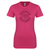 Ladies SoftStyle Junior Fitted Fuchsia Tee-Secondary Mark Hot Pink Glitter