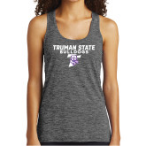 Ladies Grey/Black Heather Performance Tank-Bulldog T
