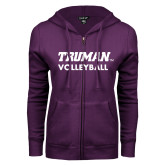 ENZA Ladies Purple Fleece Full Zip Hoodie-Volleyball